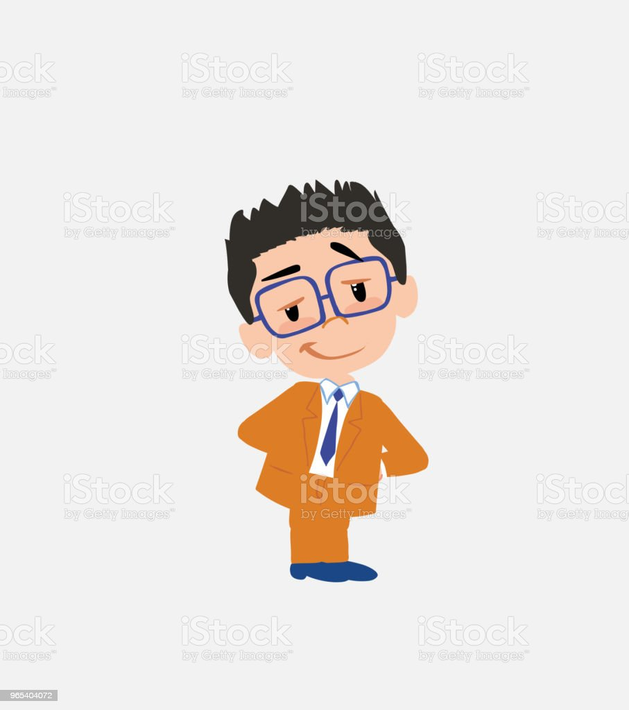 Businessman with glasses smiling peacefully. royalty-free businessman with glasses smiling peacefully stock vector art & more images of adult