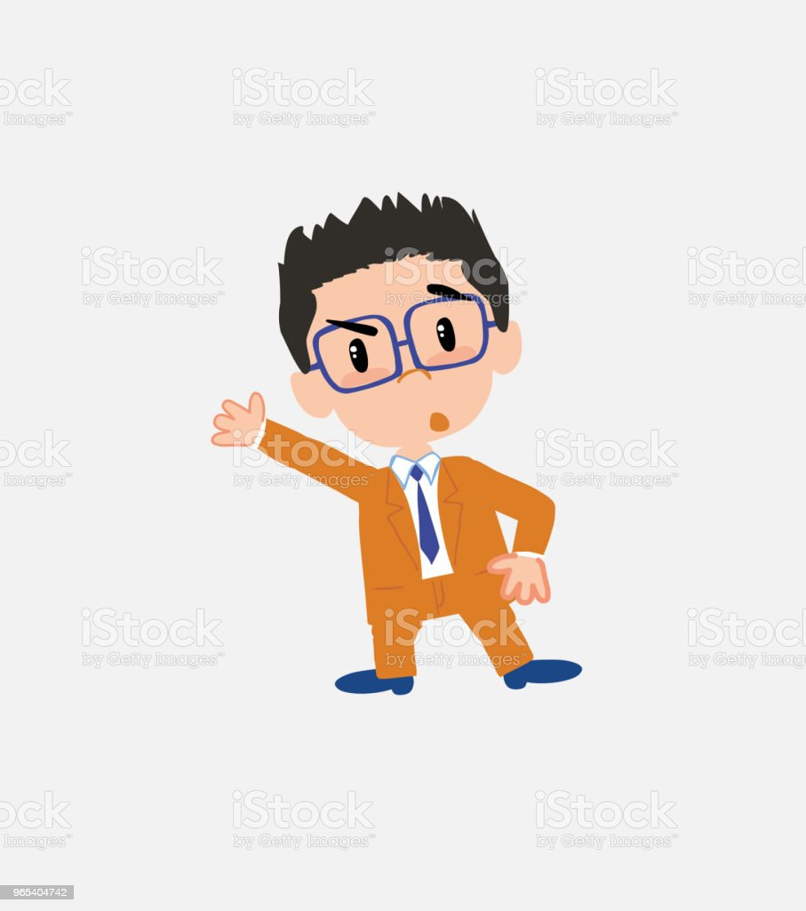 Businessman with glasses something angry shows something to his right. royalty-free businessman with glasses something angry shows something to his right stock vector art & more images of adult