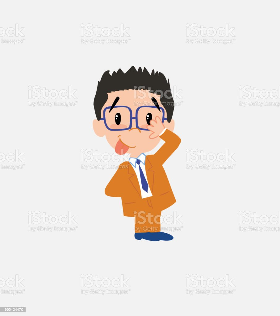 Businessman with glasses sticks out his tongue in gesture of funny shyness. businessman with glasses sticks out his tongue in gesture of funny shyness - stockowe grafiki wektorowe i więcej obrazów bank royalty-free