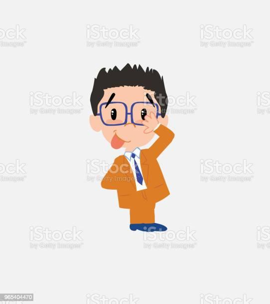 안경 사업이 하고있다 재미 수줍음의 제스처에 있는 그의 혀 금융에 대한 스톡 벡터 아트 및 기타 이미지