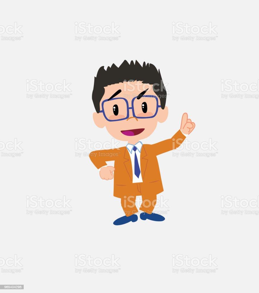 Geschäftsmann mit Brille sprechen sehr zielstrebig und optimistisch. - Lizenzfrei Anzug Vektorgrafik