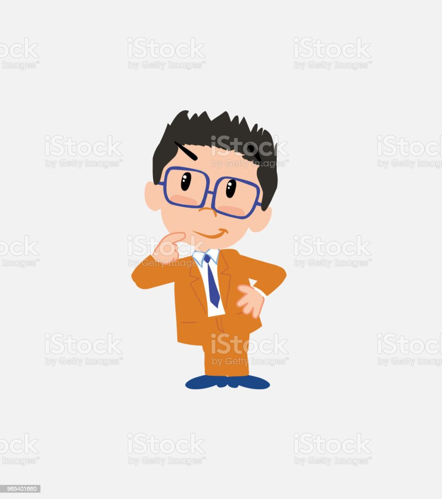 Businessman with glasses thoughtful and happy. businessman with glasses thoughtful and happy - stockowe grafiki wektorowe i więcej obrazów bank royalty-free