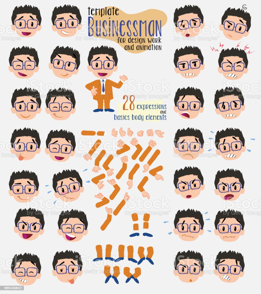 Businessman with glasses. Twenty eight expressions and basics body elements, template for design work and animation. Vector illustration to Isolated and funny cartoon character. businessman with glasses twenty eight expressions and basics body elements template for design work and animation vector illustration to isolated and funny cartoon character - stockowe grafiki wektorowe i więcej obrazów bank royalty-free