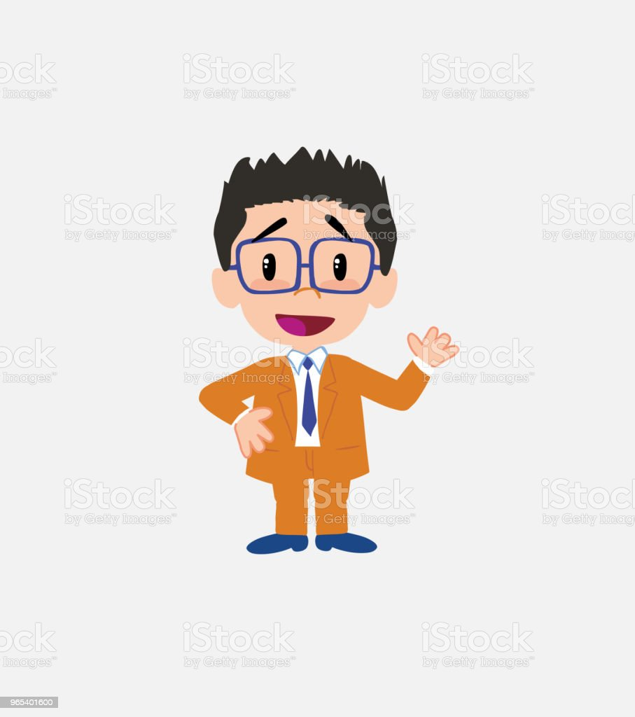Businessman with glasses waving, happy. royalty-free businessman with glasses waving happy stock vector art & more images of adult