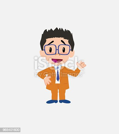 Businessman With Glasses Waving Happy Stock Vector Art & More Images of Adult 965401600