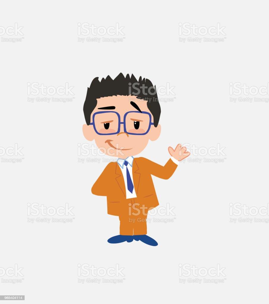 Businessman with glasses waving with a dreamy expression. businessman with glasses waving with a dreamy expression - stockowe grafiki wektorowe i więcej obrazów bank royalty-free