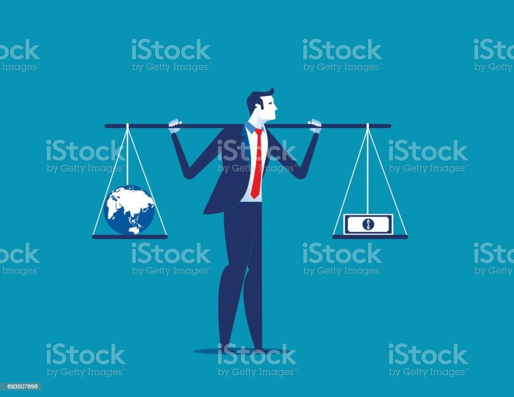 Businessman with globe and banknote in balance or imbalance. Concept business vector illustration. vector art illustration