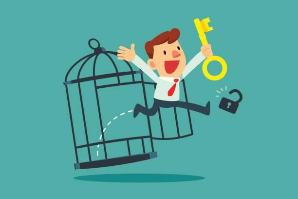 Geschäftsmann mit goldenen Schlüssel, die sich aus Käfig befreien – Vektorgrafik