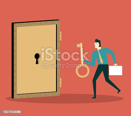 Businessman with golden key try to unlock the door. Concept of business risk and success