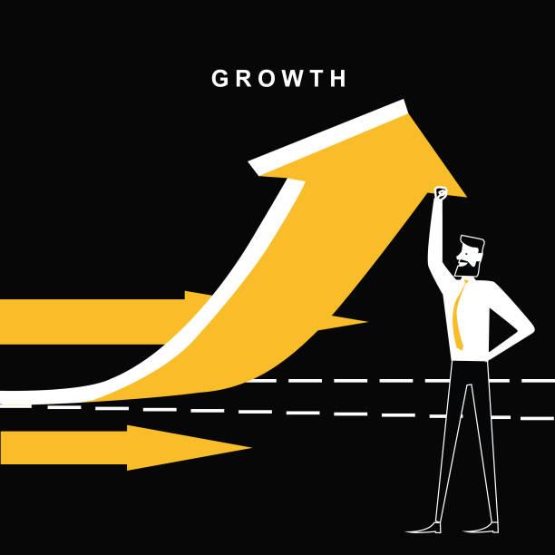 bildbanksillustrationer, clip art samt tecknat material och ikoner med affärsman med tillväxt pilen går uppåt - graphs animation