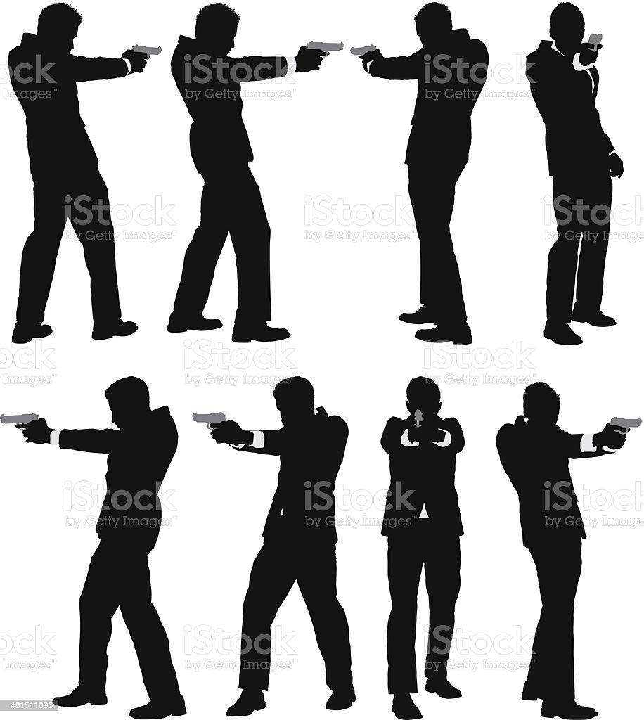 Businessman with gun vector art illustration