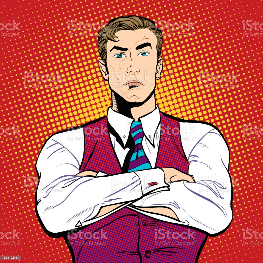 A businessman with hands crossed. Angry businessman.Angry men. vector art illustration