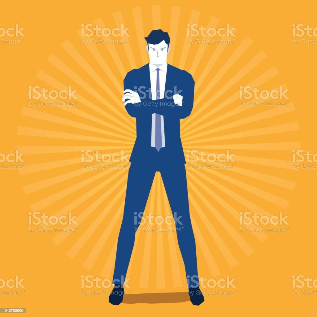 Businessman with hands crossed vector art illustration