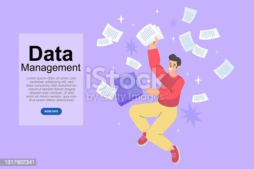 istock Businessman with hands holding many papers, A man manages a lot of documents and information on the computer. Office worker busy with work. Too much work. vector 1317902341
