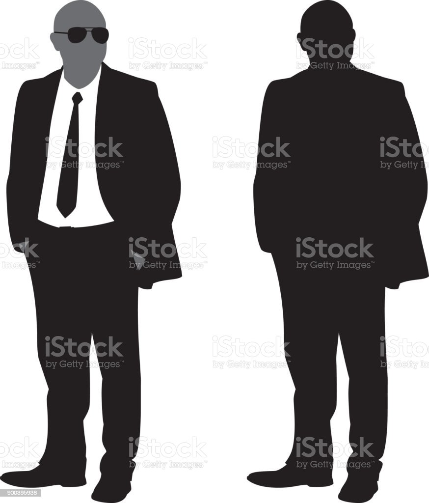 Businessman with Hands in Pockets Silhouette vector art illustration