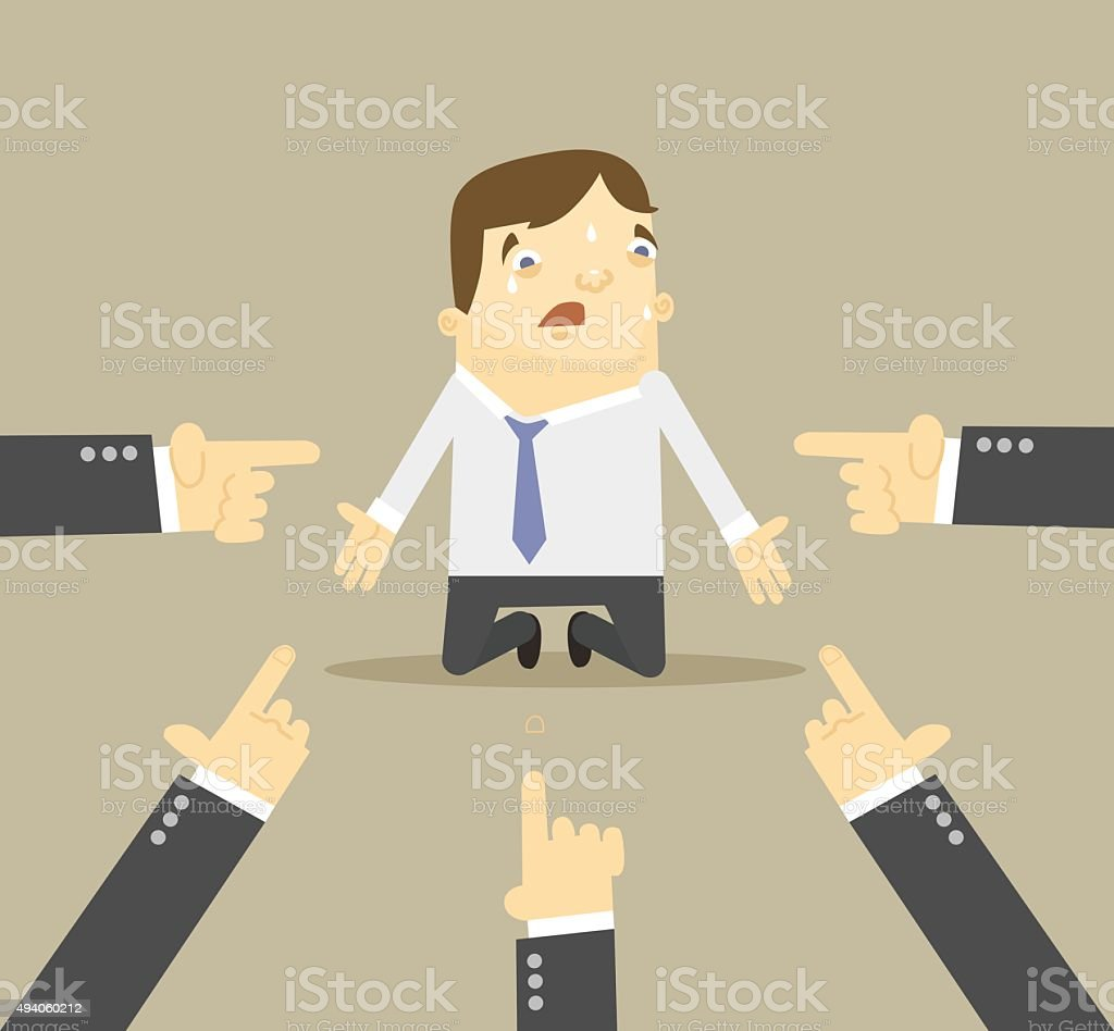 Businessman with hands pointing at him. Vector flat illustration vector art illustration