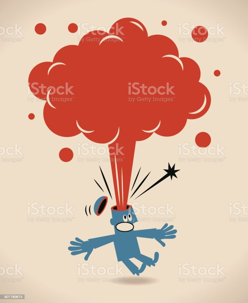 Businessman with head exploding, thought bubble popping out vector art illustration