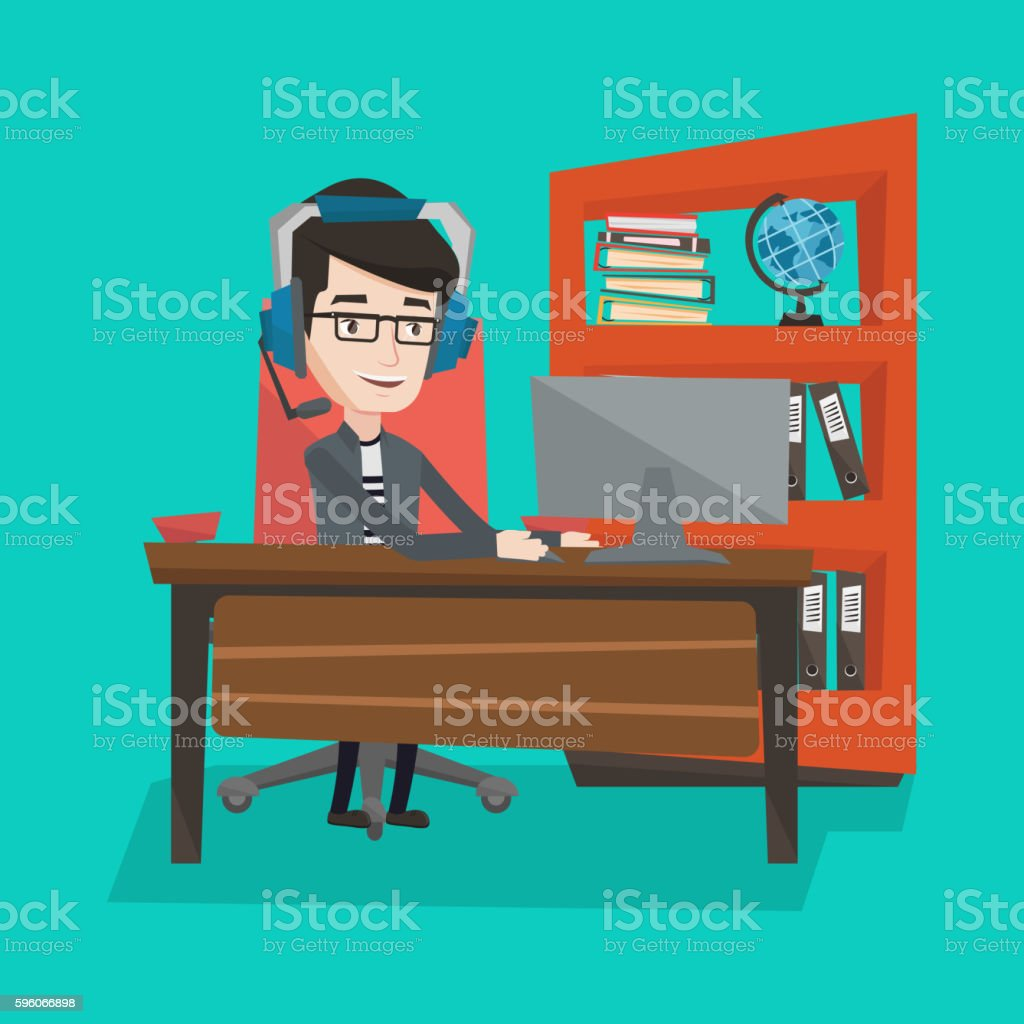 Businessman with headset working at office. royalty-free businessman with headset working at office stock vector art & more images of adult