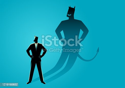 Business concept vector illustration of a businessman with his devil shadow