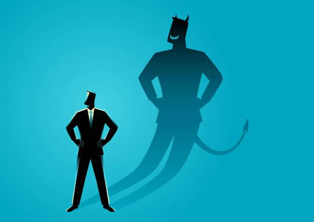 illustrazioni stock, clip art, cartoni animati e icone di tendenza di businessman with his devil shadow - malvagità