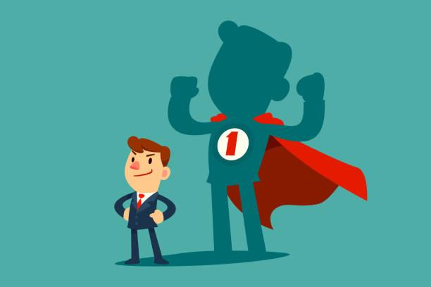 Geschäftsmann mit seinem Schatten als Superheld – Vektorgrafik