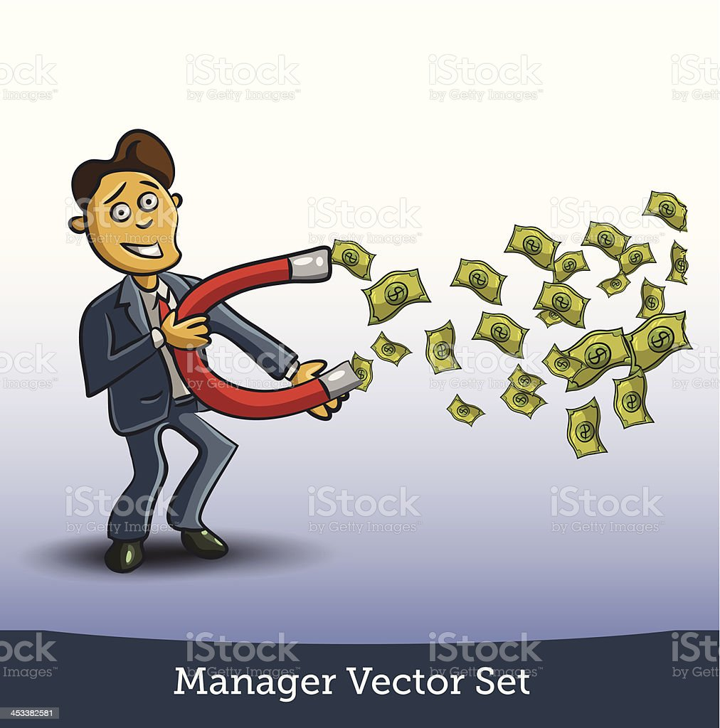 businessman with horseshoe magnet collecting money stock vector art
