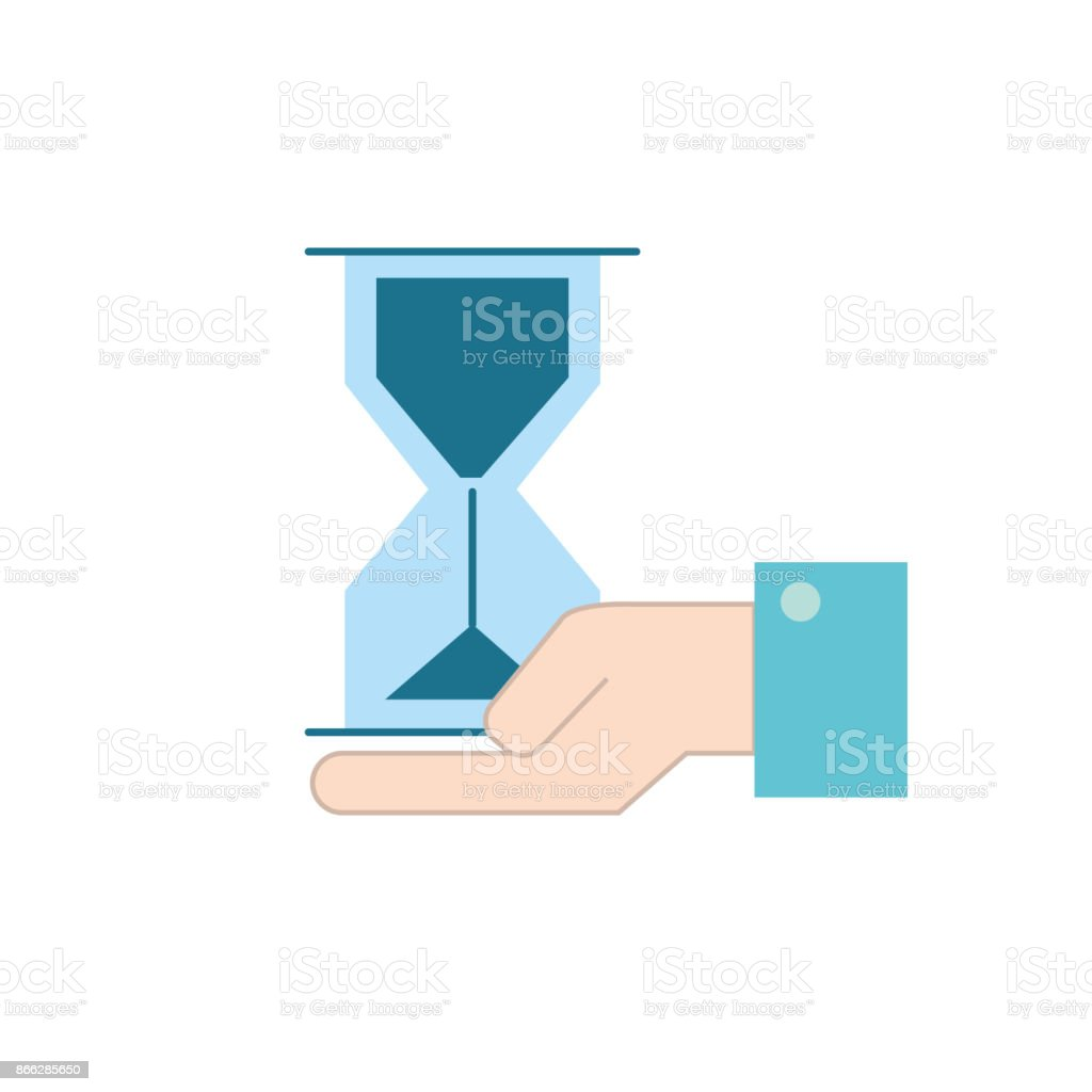 businessman with housglass object in the palm hand vector art illustration