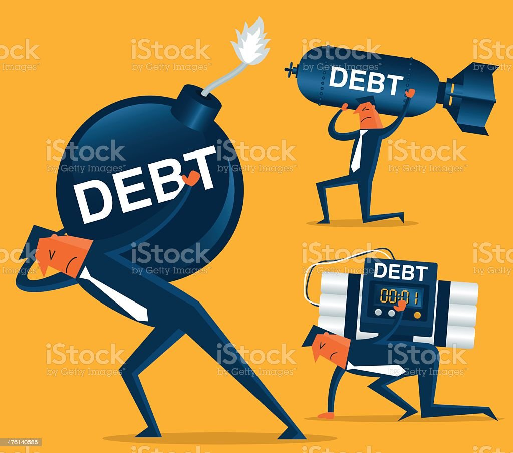 Businessman with Huge Debt Bomb vector art illustration