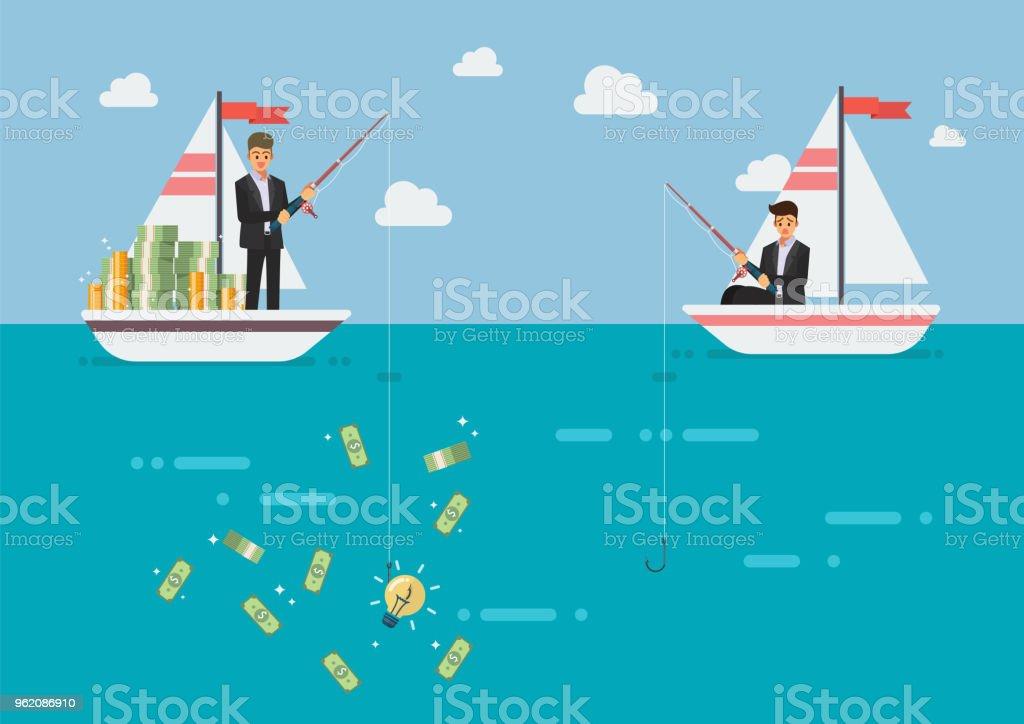 Geschäftsmann mit Idee Angeln mehr Geld als sein Konkurrent – Vektorgrafik
