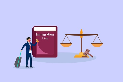 Businessman with immigration law book