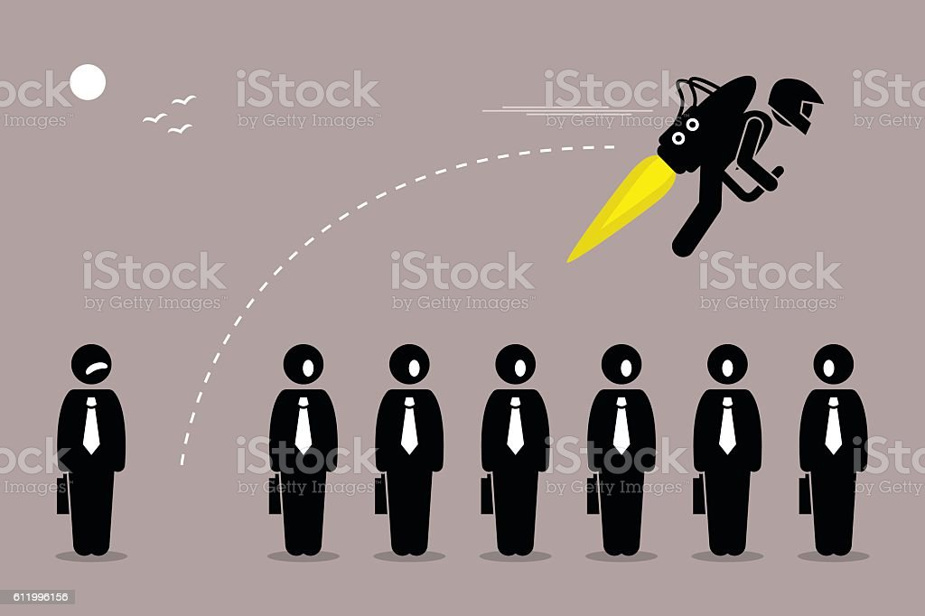 Businessman with Jetpack vector art illustration