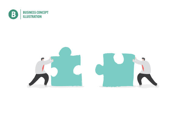 商人與拼圖的意思是合作或團隊在白色背景插圖向量。經營理念。 - 不完整 幅插畫檔、美工圖案、卡通及圖標