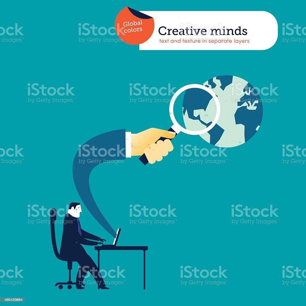 Businessman with laptop hand coming out with loupe vector art illustration