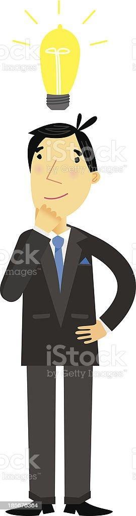 Businessman with Lightbulb royalty-free stock vector art