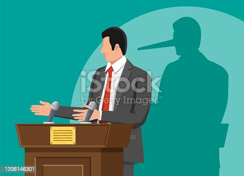 istock Businessman with long nose shadow on wall. 1206146301