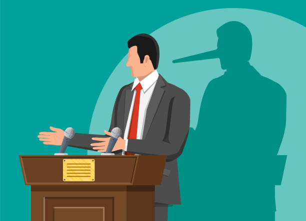 Businessman with long nose shadow on wall. Businessman with long nose shadow on wall. Orator speaking from tribune. Public speaker. Liar, lying people in business. Cheat, fraud, scam, hoax and crime. Vector illustration in flat style dishonesty stock illustrations