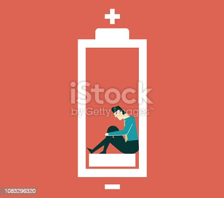Businessman feeling tired and low power battery
