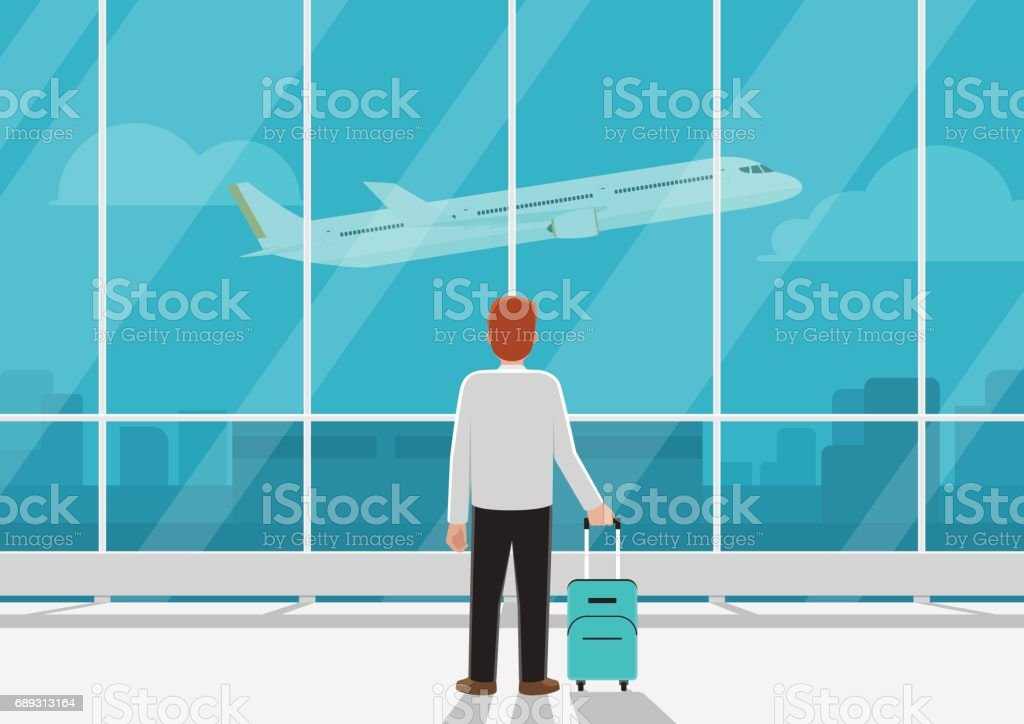 Businessman with luggage in airport looking at airplane in the sky. vector art illustration