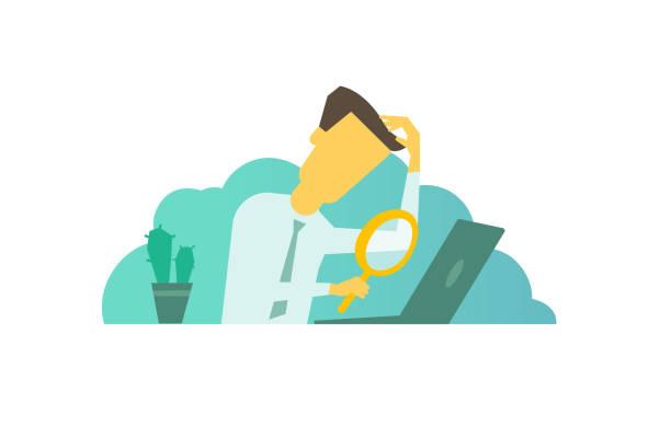 stockillustraties, clipart, cartoons en iconen met zakenman met vergrootglas in de hand op zoek naar iets ter naar de laptop zit aan de tafel - verdwaald