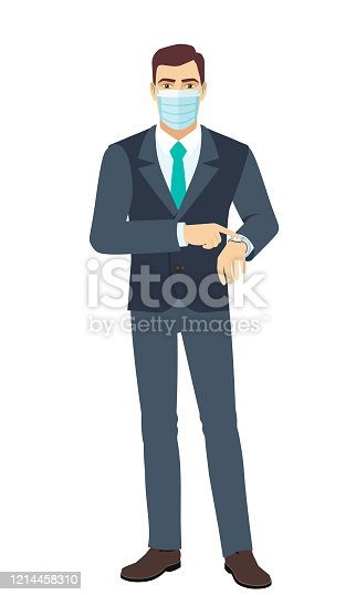 Businessman with medical mask pointing at his watch. Full length portrait of Businessman in a flat style. Vector illustration.
