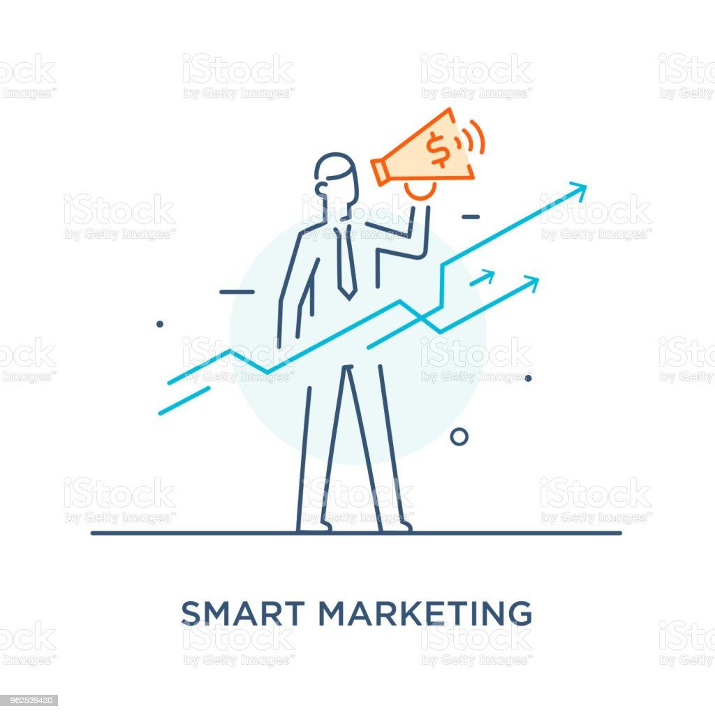 Empresário com megafone, olhando para o futuro. gráficos de crescimento. Linha icon ilustração. Sucesso, taxas de crescimento - Vetor de Adulto royalty-free