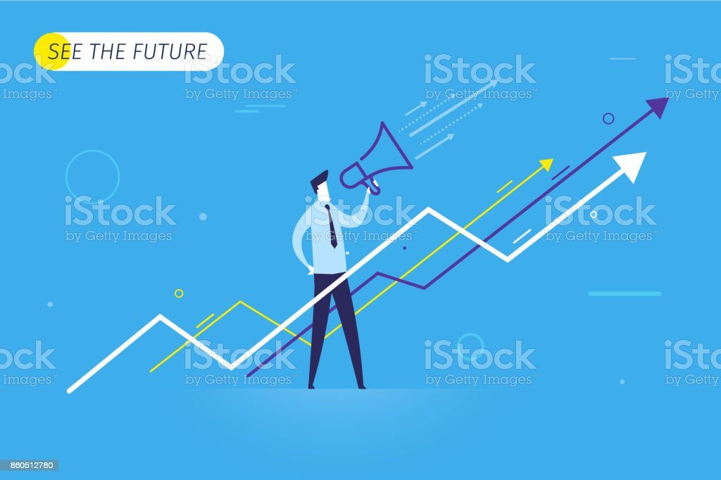 Businessman with megaphone looking to the future vector art illustration