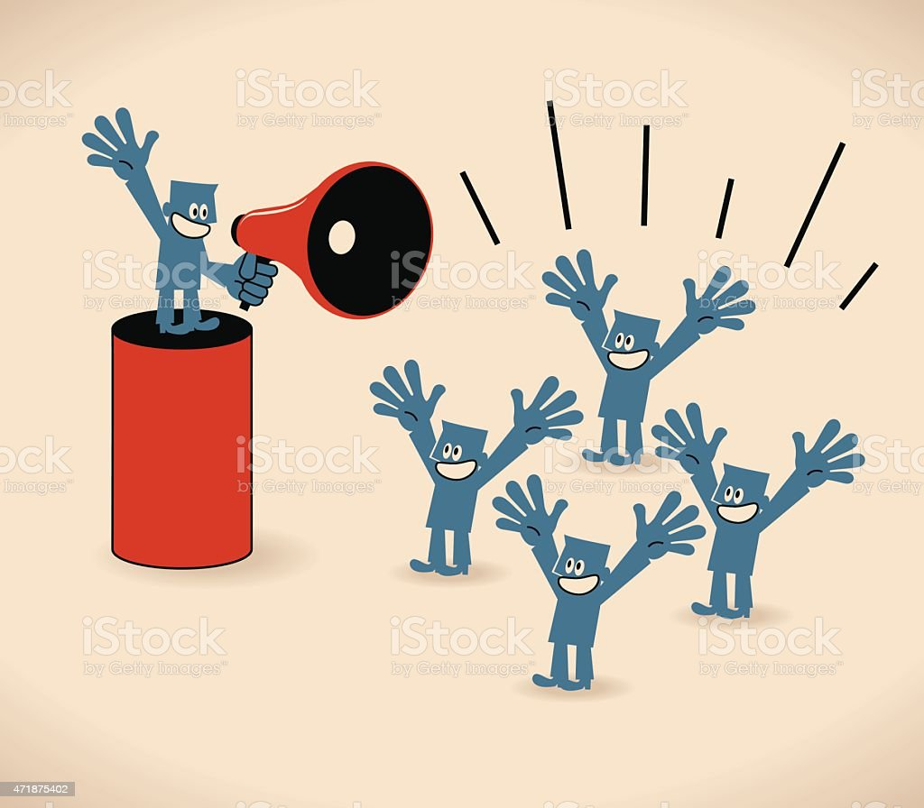 Businessman with megaphone (bullhorn) talking (speaking) to crowd of people vector art illustration