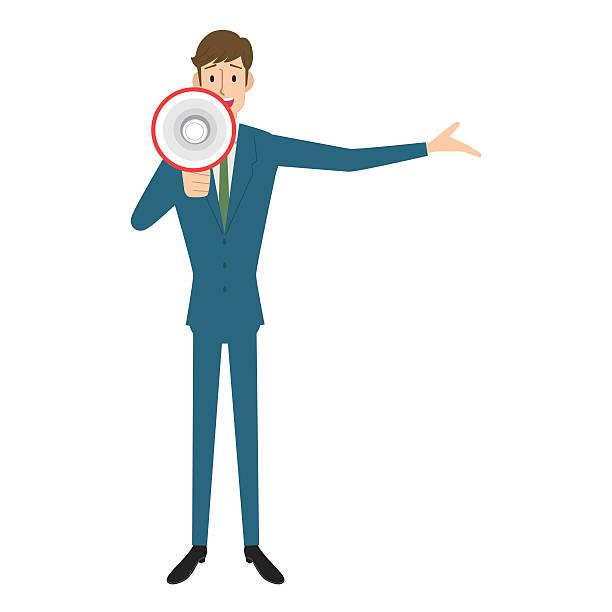 Businessman with megaphone Businessman with megaphone. good news stock illustrations
