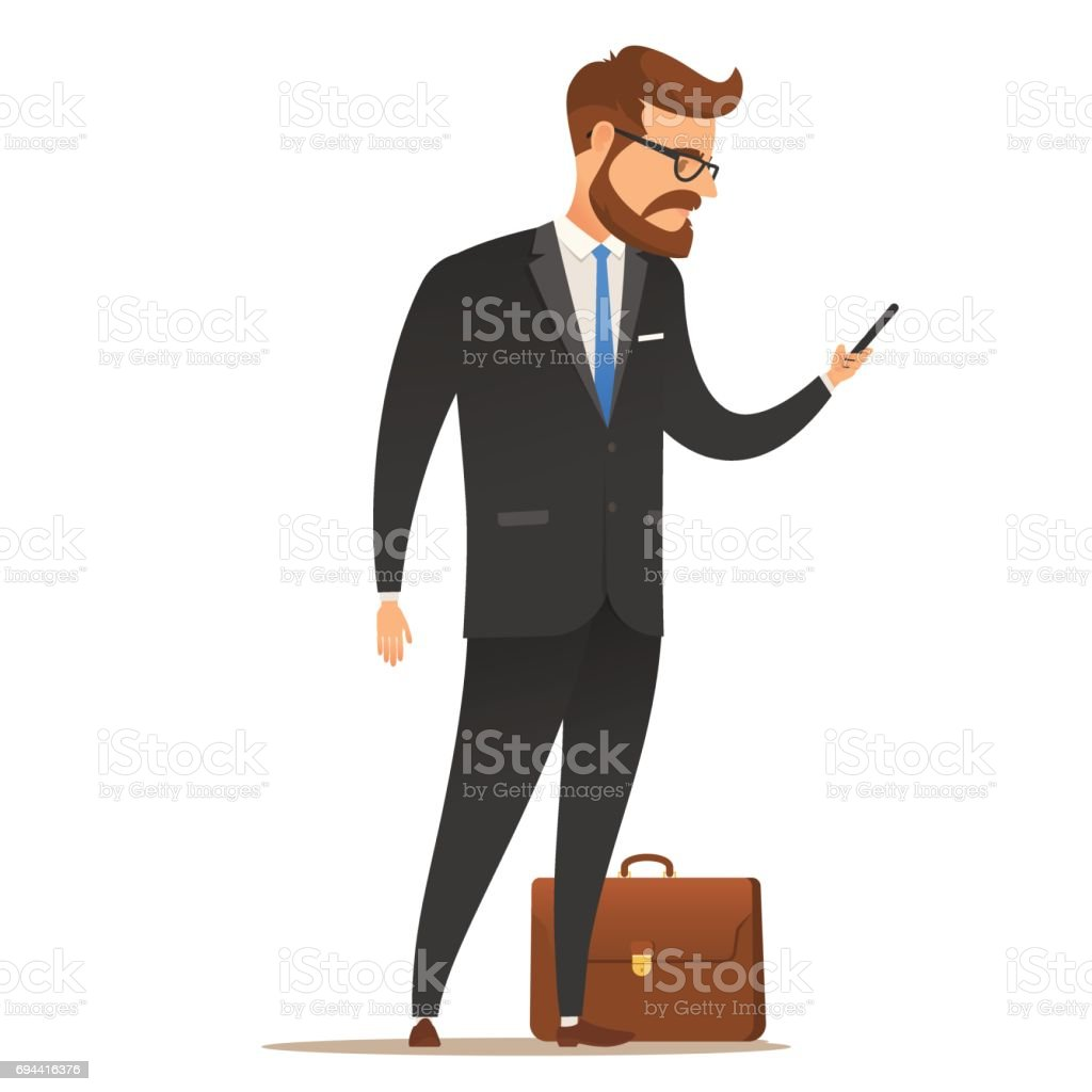 Businessman with mobile phone in hand. vector art illustration