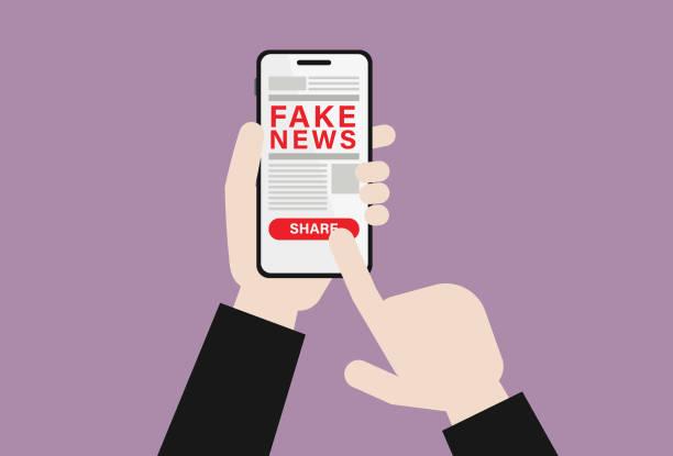 ilustrações, clipart, desenhos animados e ícones de o homem de negócios com telefone móvel compartilha da notícia falsificada - social media