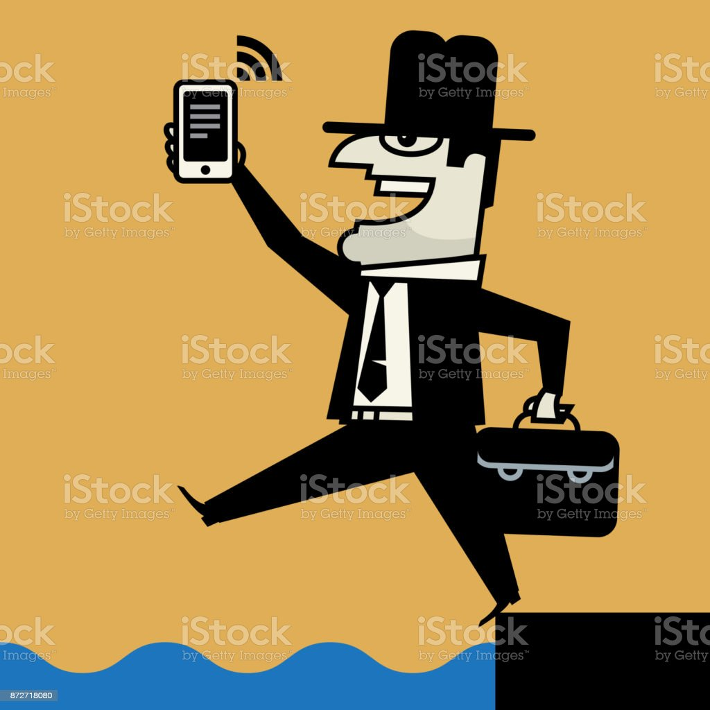 Businessman with mobile phone vector art illustration