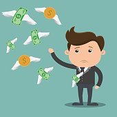 Businessman with money flying  - vector illustration