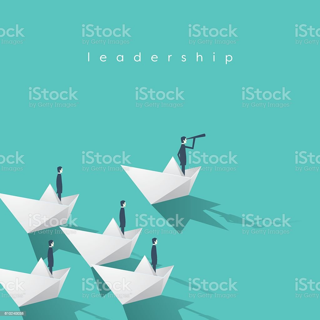Businessman with monocular on paper boat as a symbol of vector art illustration
