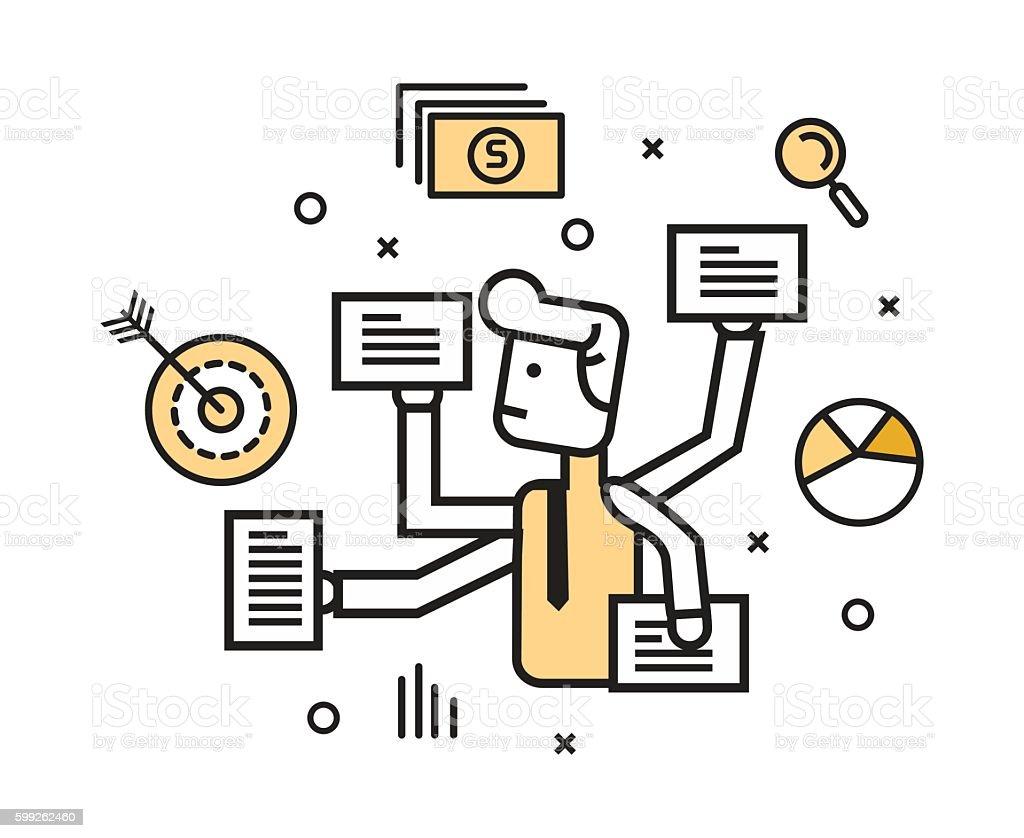 Businessman with multi tasking work. vector art illustration